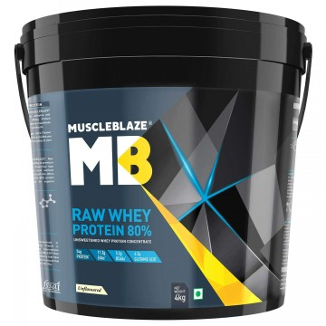 MuscleBlaze Raw Whey Protein - 8.8 lb/ 4 kg 131 Servings (Unflavoured)
