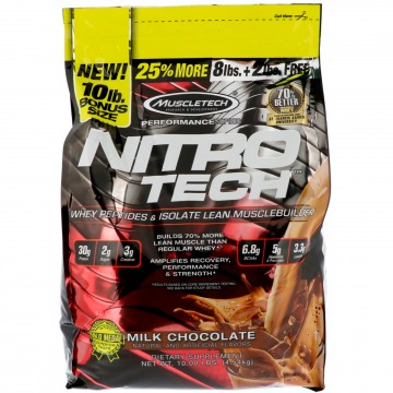 Muscletech NitroTech Whey Peptides & Isolate Lean Musclebuilder Milk Chocolate 10 lbs (4.54 kg)