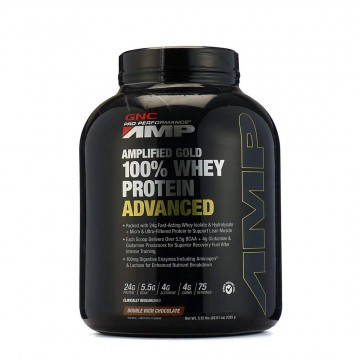 GNC AMP Amplified Gold 100% Whey Protein Advanced - 5.12 lbs 2.32 Kg